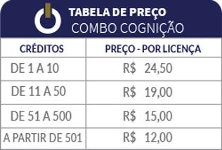 Tabela de preços Combo Cognição